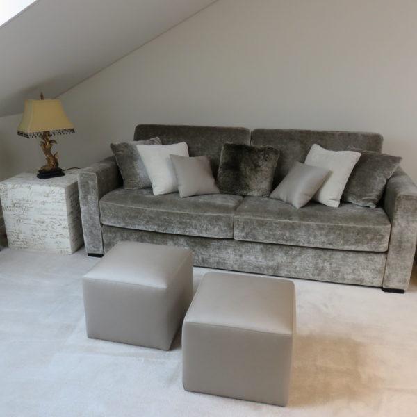 Ambiance salon TV avec un canapé-lit